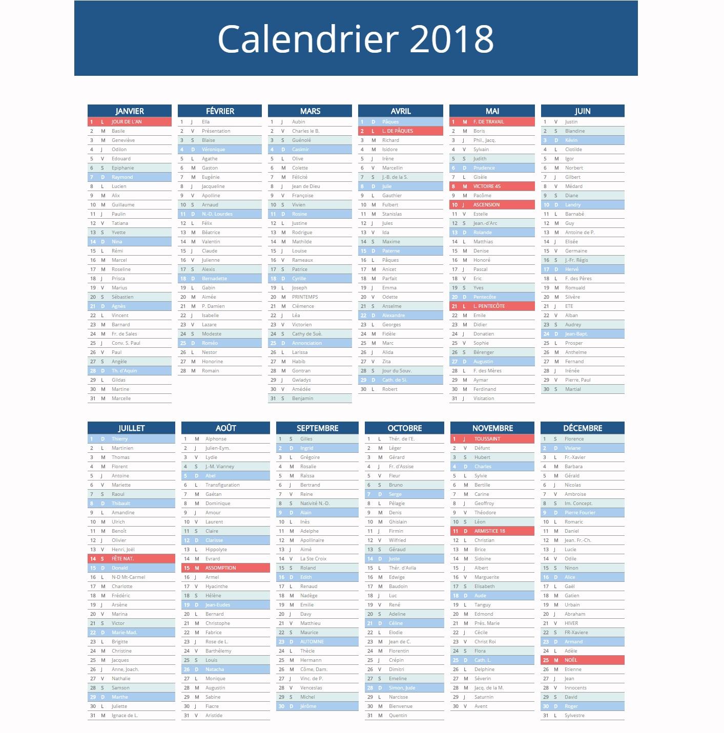 Calendrier 2018 vacances scolaires jours f ri s 2018 - Date fete des meres 2018 ...
